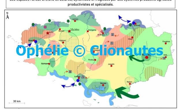 Croquis – Les espaces ruraux bretons structurés, dynamisés et fragilisés par des systèmes productifs agricoles productivistes et spécialisés