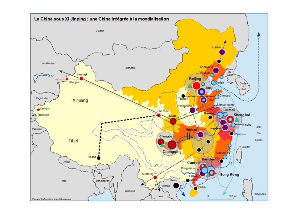 Carte de la Chine sous Xi Jinping