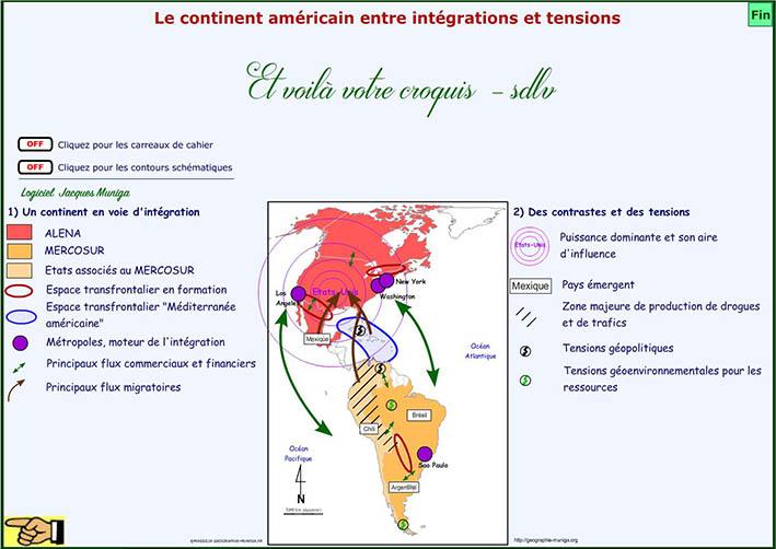 Carte Amerique Puissance Du Nord Affirmation Du Sud.Le Continent Americain Entre Integrations Et Tensions Clio Carto