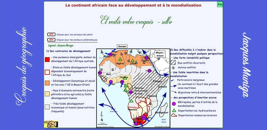 le continent africain face au développement et à la mondialisation carte CROQUIS : Le continent africain face au développement et à la