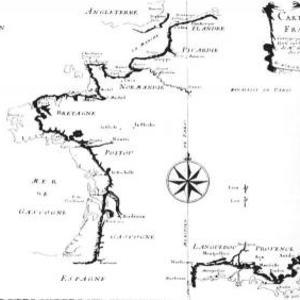 Carte des côtes de la France corrigée par l'Académie des Sciences - Relevés de César-François Cassini CC Wikipedia